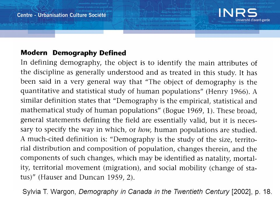 Sylvia T. Wargon, Demography in Canada in the Twentieth Century [2002], p. 18.